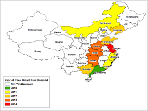 China Peak Diesel Map